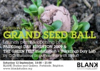 Park[ing] Day Brighton launch event - Grand Seed Ball & The Green Felt installation. CiCi Blumstein 2009. Flyer design: Sara Popowa