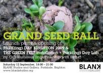 Park[ing] Day Brighton launch event - Grand Seed Ball & The Green Felt installation. CiCi Blumstein 2009. Flyer design: Sara Popowa