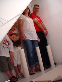 The Measuring Room - BLANK Gallery installation view with participants. CiCi Blumstein 2008.
