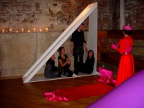 LOVE TRIANGLE - installation view, The Twilight Club, The Basement, Brighton. CiCi Blumstein 2009.