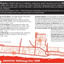 Park[ing] Day Brighton. Co-curated & produced by CiCi Blumstein 2009. Flyer design: Sara Popowa