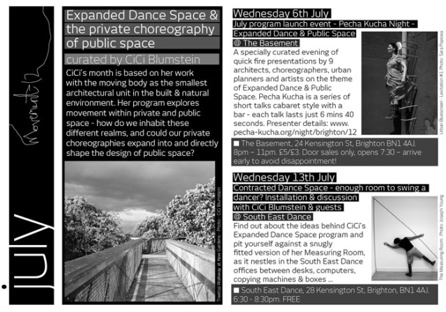 Expanded Dance Space & the private choreography of public space. CiCi Blumstein 2011. Flyer design: Sara Popowa