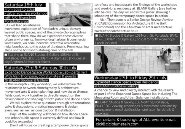 Expanded Dance Space & the pivate choreography of public space - program curated by CiCi Blumstein 2011. Flyer design: Sara Popowa