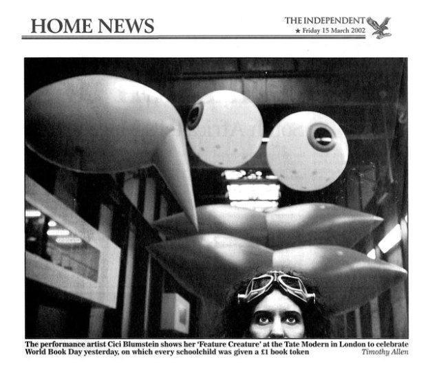 Feature Creature at Tate Modern, CiCi Blumstein 2002 - coverage by The Independent. Photo: Timothy Allen