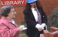 Time Lapse Tea Party - Ammonias Schnezbiscuit & Vera, new library building site, Leeds. CiCi Blumstein 2001.