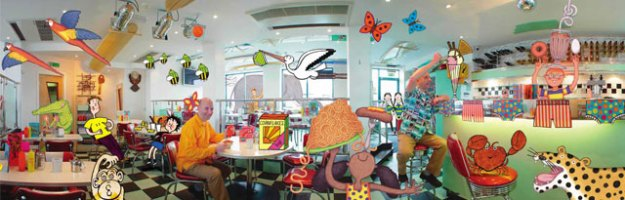 Author & illustrator Nick Sharratt in his favourite diner. CiCi Blumstein 2004. Habitat illustrations © Nick Sharratt 2004.